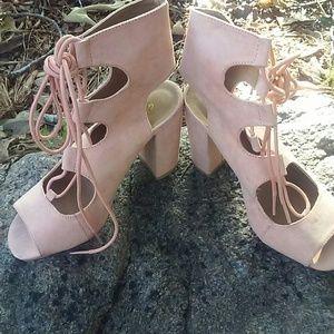 Ankle Tie Sandal|Peach Lace Up Sandal
